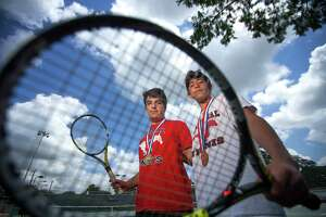 Memorial High School's Artur Zigman (left) and Andrew Esses, who teamed up to win the boys doubles state championship this year, are photographed as the Chronicle's All-Greater Houston boys tennis players of the year, Tuesday, May 30, 2017, in Houston. (Mark Mulligan / Houston Chronicle)