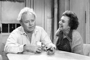 LOS ANGELES - DECEMBER 3: All In The Family. Episode: 'Archie's Chair'. Featuring Carroll O'Connor (as Archie Bunker) and Jean Stapleton (as Edith Bunker). Negative dated December 3, 1976. (Photo by CBS via Getty Images)