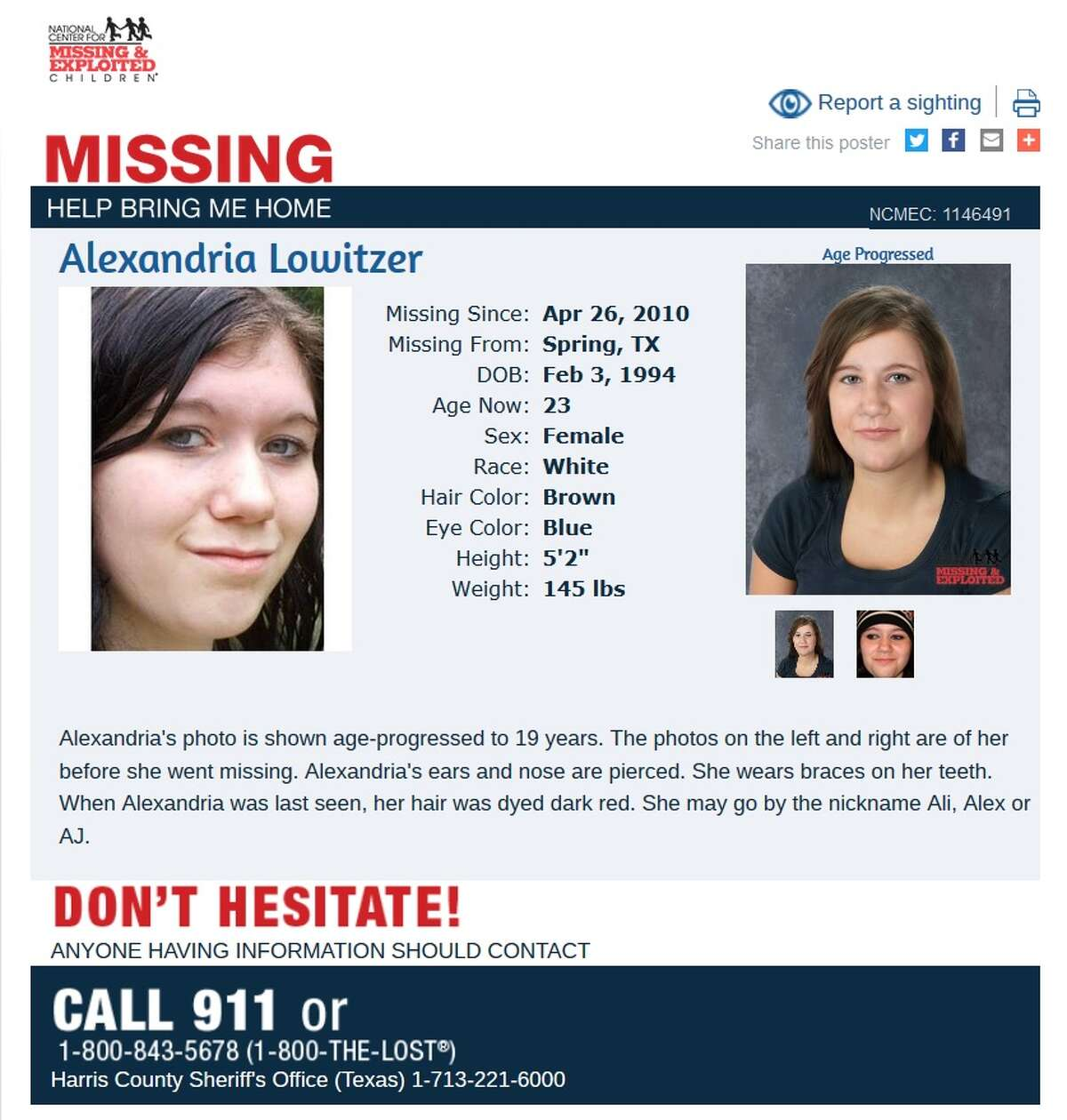 """Alexandria """"Ali"""" Lowitzer was 16 in 2010 when she vanishing after leaving a school bus at the usual stop in her Spring, Texas neighborhood. She would be 23 now. Jo Ann Lowitzer continues to work toward answers about her daughter's whereabouts and attended Missing in Harris County Day on June 10, 2017."""