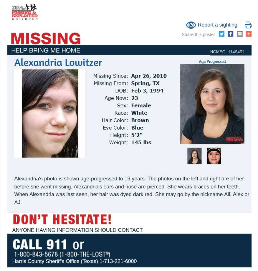 "Alexandria ""Ali"" Lowitzer was 16 in 2010 when she vanishing after leaving a school bus at the usual stop in her Spring, Texas neighborhood. She would be 23 now. Jo Ann Lowitzer continues to work toward answers about her daughter's whereabouts and attended Missing in Harris County Day on June 10, 2017. Photo: National Center For Missing And Exploited Children"