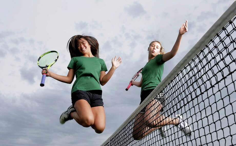 Cypress Falls High School's Rylee Braeden and Polina Radchenko are the All-Greater Houston girls tennis players of the year, on the courts at the school in Cypress, TX, May 29, 2017. (Michael Wyke / For the  Chronicle) Photo: Michael Wyke, Freelance / © 2017 Houston Chronicle