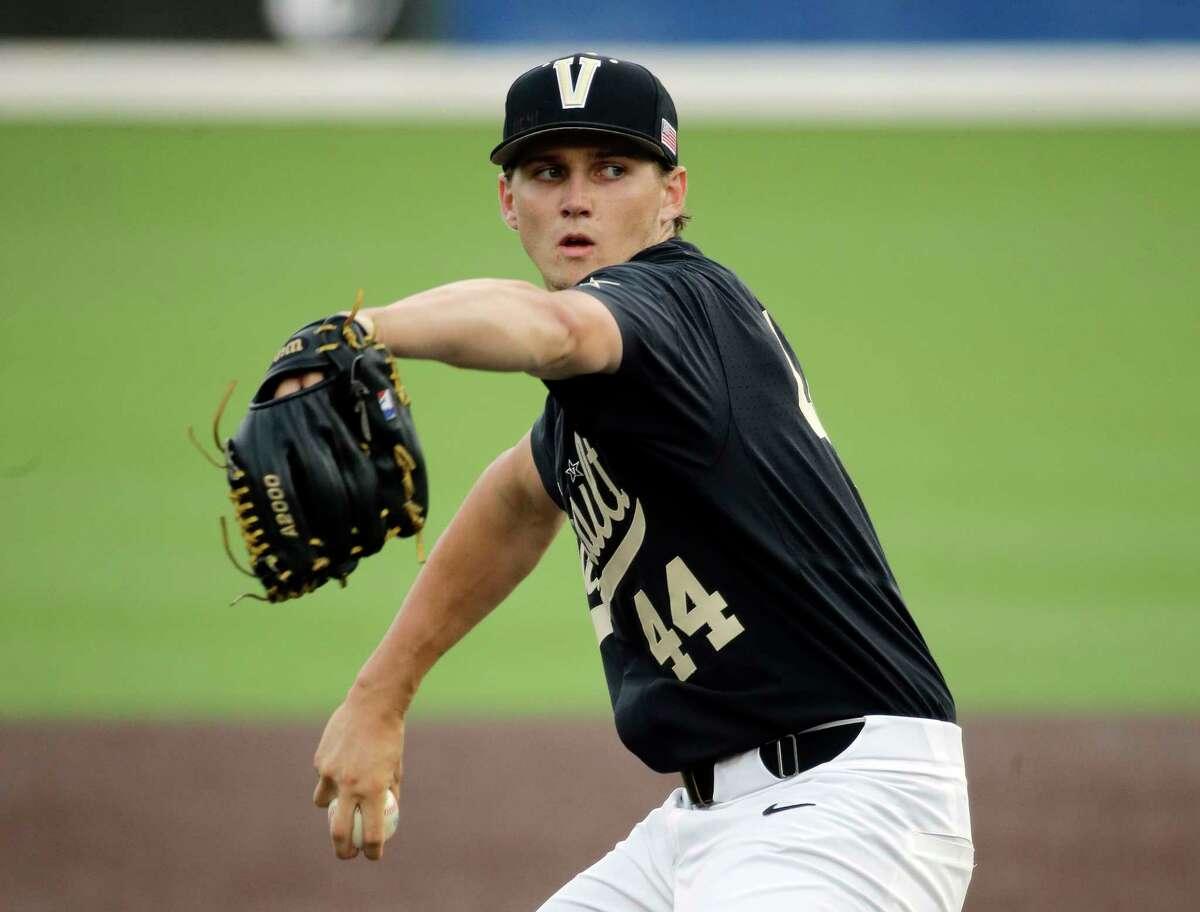 Vanderbilt starter Kyle Wright pitches against Washington in the first inning of an NCAA college baseball regional tournament game Saturday, June 4, 2016, in Nashville, Tenn. (AP Photo/Mark Humphrey)