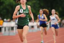 FILE PHOTO: New Milford's Mia Nahom runs to an easy victory in the girls 1600 meters at the State Open Outdoor Track championships at Willow Brook Park in New Britain, Conn. on Monday, June 5, 2017.