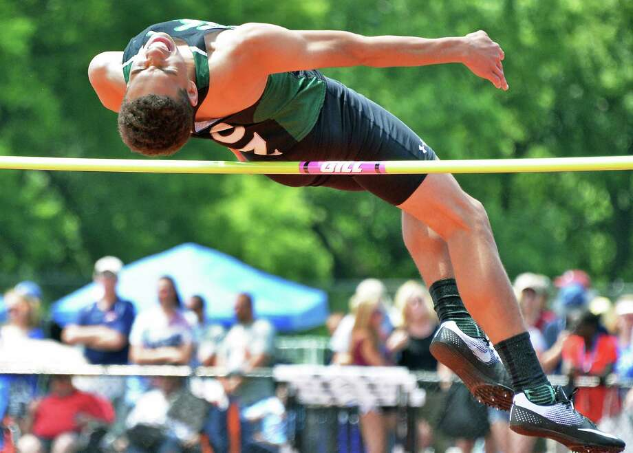 Shen's Jonathan Ray competes in the high jump at the NYS track and field meet Saturday June 10, 2017 in Endicott, NY.  (John Carl D'Annibale / Times Union) Photo: John Carl D'Annibale / 40040742A