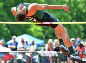 Shen's Jonathan Ray competes in the high jump at the NYS track and field meet Saturday June 10, 2017 in Endicott, NY.  (John Carl D'Annibale / Times Union)