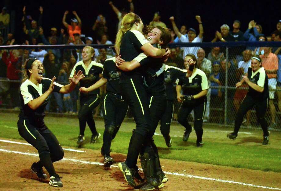 Trumbull celebrates its win over Southington in Class LL final softball action in West Haven, Conn., on Saturday June 10, 2017. Photo: Christian Abraham / Hearst Connecticut Media / Connecticut Post