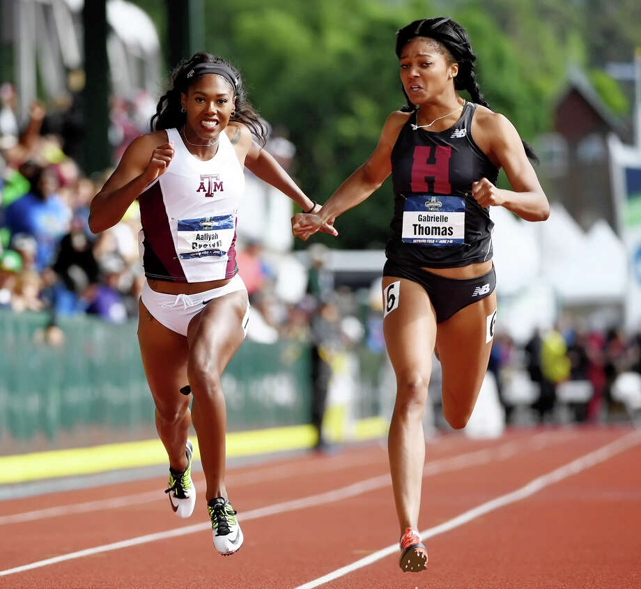 Texas A&M runner Aaliyah Brown at the NCAA Championships in Eugene Ore. on Saturday, June 10, 2017. Photo: Errol Anderson