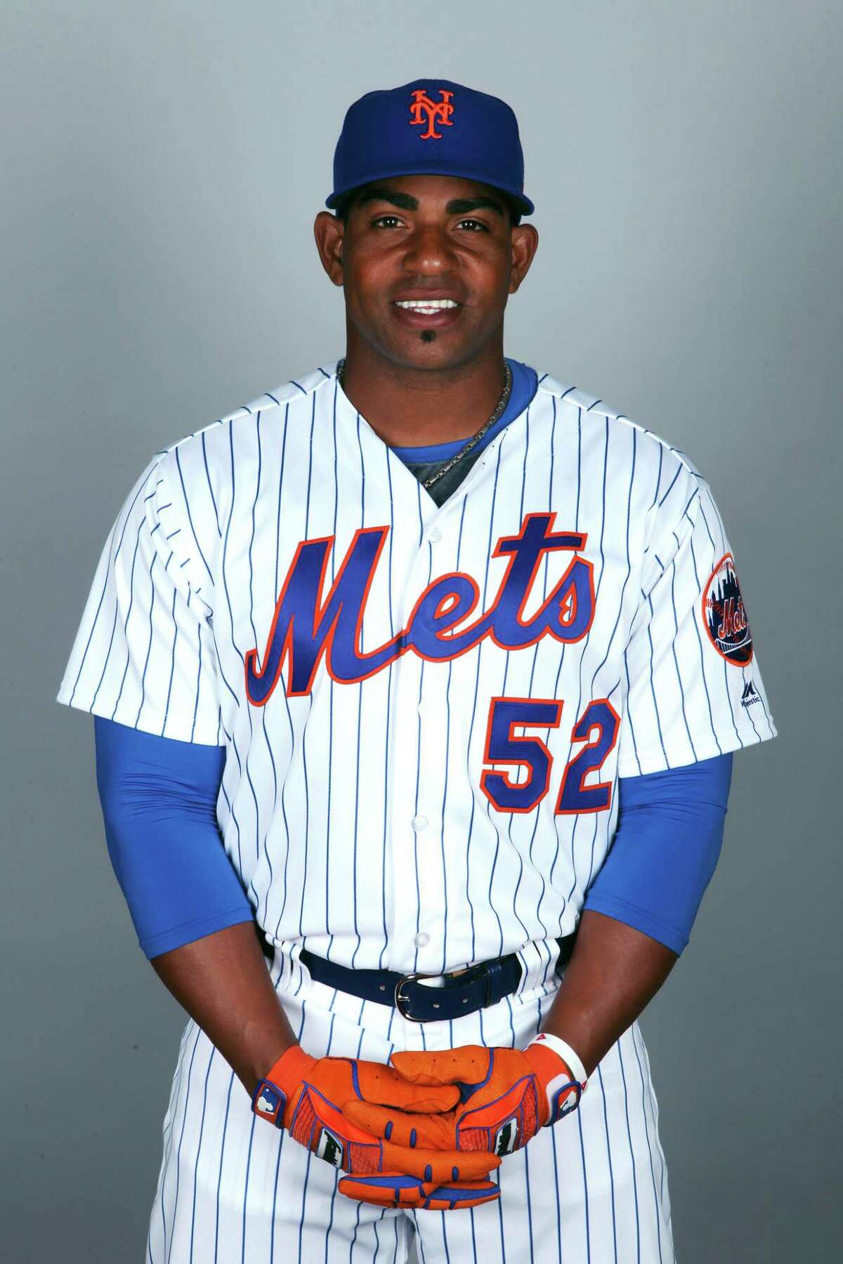 PORT ST. LUCIE, FL - FEBRUARY 22: Yoenis Cespedes #52of the New York Mets poses during Photo Day on Wednesday, February 22, 2017 at Tradition Field in Port St. Lucie, Florida. (Photo by Eliot J. Schechter/MLB Photos via Getty Images) *** Local Caption *** Yoenis Cespedes
