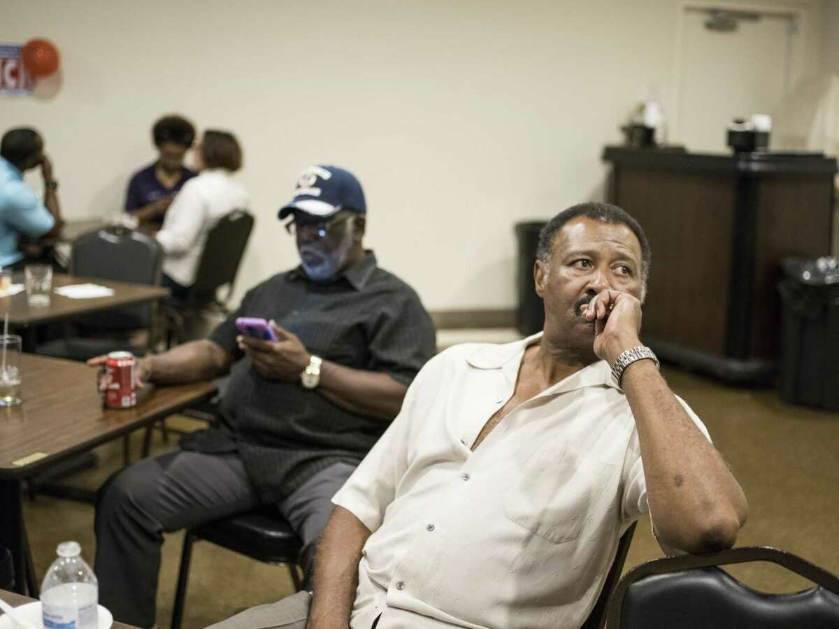 Jerry Farmer, 66, watches the TV during the election watch party for District 2's Councilman Alan Warrick at the American Legion on Martin Luther King Dr. in San Antonio, TX on Saturday, June 10, 2017.