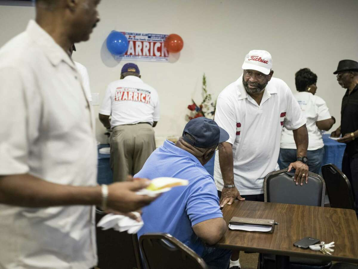 Supporters and volunteers gather during the election watch party for District 2's Councilman Alan Warrick at the American Legion on Martin Luther King Dr. in San Antonio, TX on Saturday, June 10, 2017.