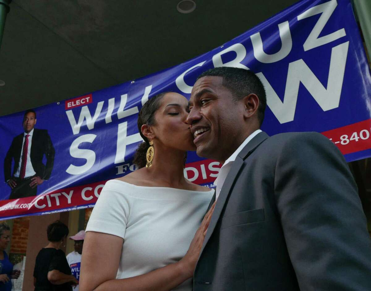 """William """"Cruz"""" Shaw is kissed by his wife, Michelle, at a post-election party at Tony G's on Saturday, June 10, 2017. Shaw was leading incumbent Alan Warrick for the District 2 City Council seat."""
