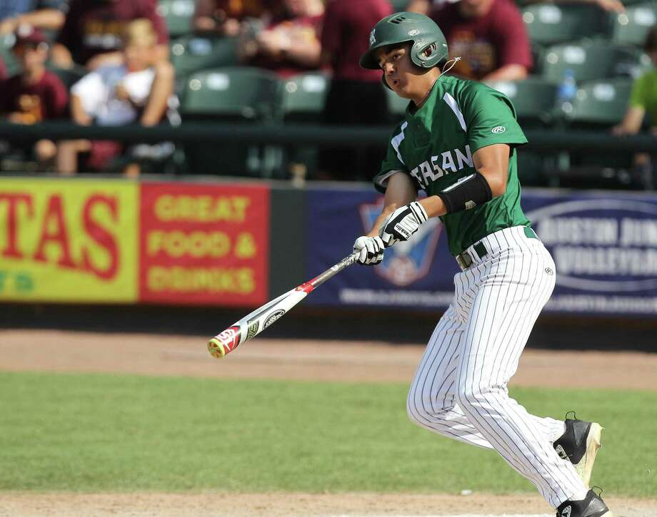 Reagan's Cal Martin hits a single against Deer Park during a Class 6A UIL state championship at Dell Diamond in Round Rock, Saturday, June 10, 2017. (Stephen Spillman) Photo: Stephen Spillman / Stephen Spillman / stephenspillman@me.com Stephen Spillman