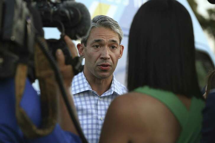 San Antonio mayoral candidate Ron Nirenberg talks with reporters before addressing a jubilant crowd at his campaign headquarters, Saturday, June 10, 2017. Early results in the run off election against Mayor Ivy Taylor, Nuremberg held a nine-point lead.