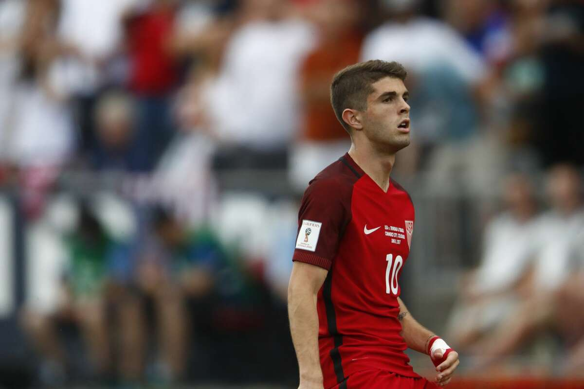 United States midfielder Christian Pulisic (10) in the first half of a World Cup soccer qualifying match Thursday, June 8, 2017, in Commerce City, Colo. (AP Photo/David Zalubowski)