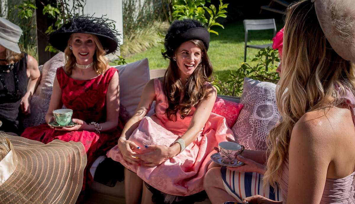 Owners of Kikoko Cannabis Tea, Jennifer Chapin and Amanda Jones hold a tea party in Mill Valley, Calif., on June 10th, 2017.