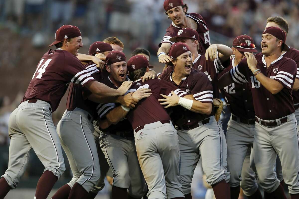 The Texas A&M Aggies celebrate after winning the 2017 NCAA Super Regional baseball game between the Davidson Wildcats and the Texas A&M Aggies at Blue Bell Park on Saturday, June 10, 2017, in College Station, TX.