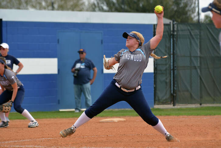 Kingwood junior pitcher Maddie Lindsey works to a Klein Collins hitter during their game at Friendswood High School on Feb. 24, 2017.