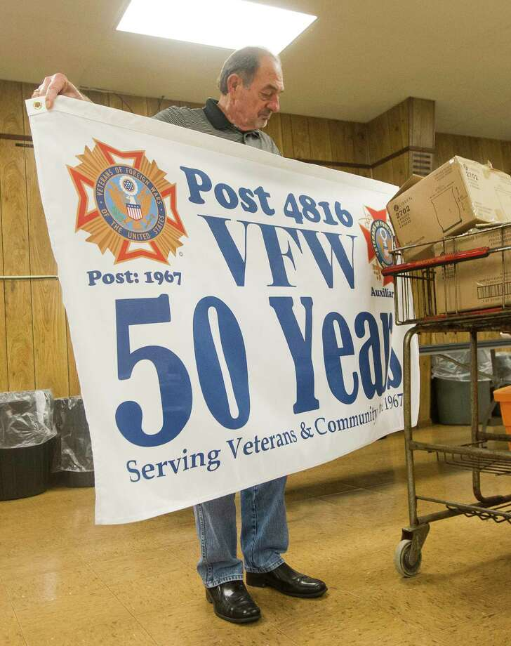 cc0c3527ca7 Gabriel Freshour reveals a banner celebrating the 50th anniversary of the  Veterans of Foreign Wars Post