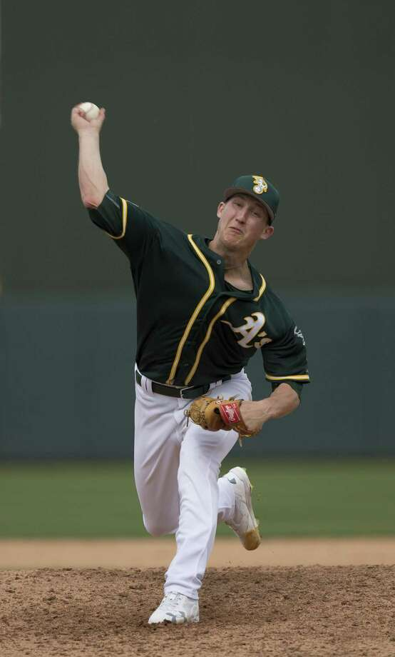 MESA, AZ - MARCH 3: Daniel Gossett #78 of the Oakland Athletics pitches during the game against the San Francisco Giants at Hohokam Stadium on March 3, 2017 in Mesa, Arizona. (Photo by Michael Zagaris/Oakland Athletics/Getty Images) Photo: Michael Zagaris / Getty Images / 2017 Michael Zagaris
