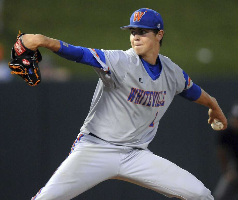 Whiteville pitcher MacKenzie Gore throws against Murphy during Game 1 of the NCHSAA 1A state baseball championship in Raleigh, N.C., Friday, June 2, 2017. [Matt Born/The Star-News via AP) Photo: Matt Born, Associated Press