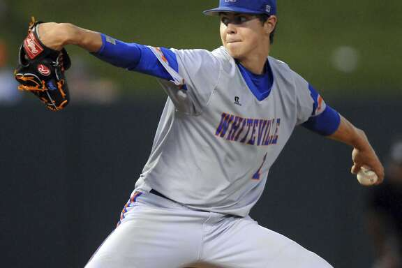 Whiteville pitcher MacKenzie Gore throws against Murphy during Game 1 of the NCHSAA 1A state baseball championship in Raleigh, N.C., Friday, June 2, 2017. [Matt Born/The Star-News via AP)
