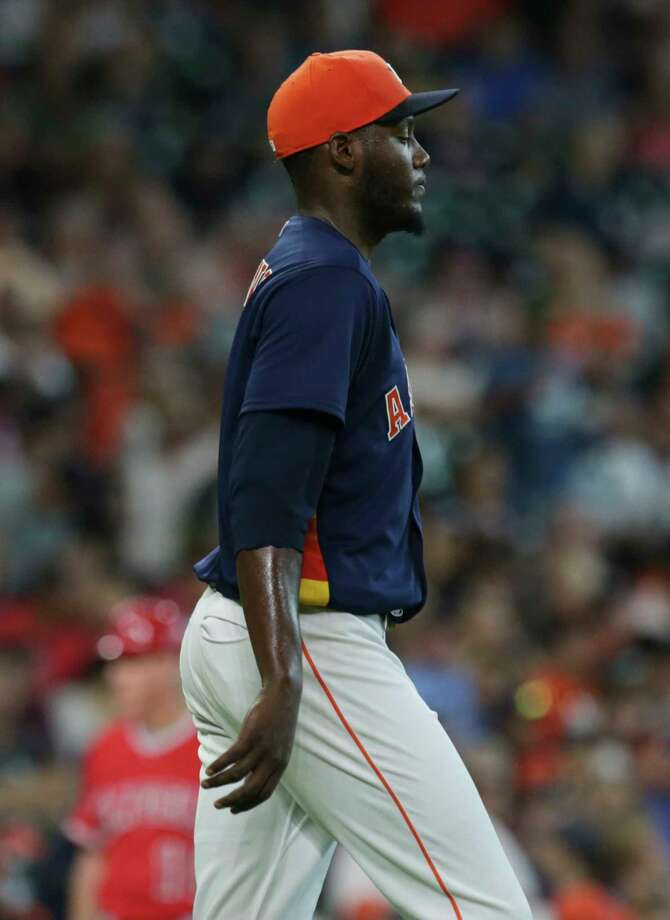 Houston Astros starting pitcher David Paulino (63) has some troubles with pitching during the top third inning at Minute Maid Park Sunday, June 11, 2017, in Houston. Photo: Yi-Chin Lee / © 2017  Houston Chronicle