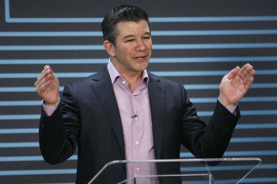 Uber CEO Travis Kalanick gives a speech at the company's five-year anniversary event, Wednesday, June 3, 2015, at the Uber headquarters in San Francisco, Calif. Photo: Santiago Mejia, Special To The Chronicle
