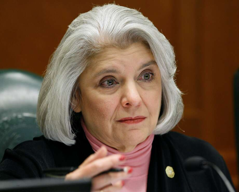 """FILE - This May 28, 2008, file photo shows Sen. Judith Zaffirini, D-Laredo, in Austin, Texas. Texas locks up more people who can't afford to pay tickets and fines than any other state, but that could change if Republican Gov. Greg Abbott signs off on bipartisan bills that would require judges to offer alternatives such as community service, payment plans or waivers. Zaffirini authored her chamber's version of the bill, and said it was """"of extreme importance for low-income people"""" that the changes become law. """"If a person can't pay, it spirals from a low-level to high-level problem,"""" said Zaffirini, noting that people often lose their jobs during such jail stints. (AP Photo/Harry Cabluck, File) Photo: Harry Cabluck, Associated Press"""