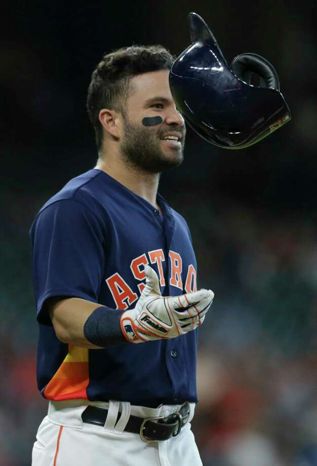 Astros' second baseman Jose Altuve moved into 10th place for hits in franchise history with his single in the fourth inning Sunday. He has 1,124 hits in his career. Photo: Yi-Chin Lee / © 2017  Houston Chronicle