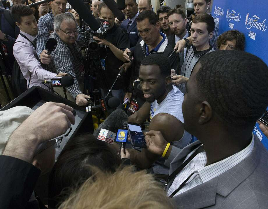 Golden State Warriors forward Draymond Green speaks to the media following practice for Game 5 of the NBA Finals against the Cleveland Cavaliers on Monday, Sunday, June 11, 2017, at the Warriors headquarters Oakland, Calif. Photo: D. Ross Cameron, Special To The Chronicle