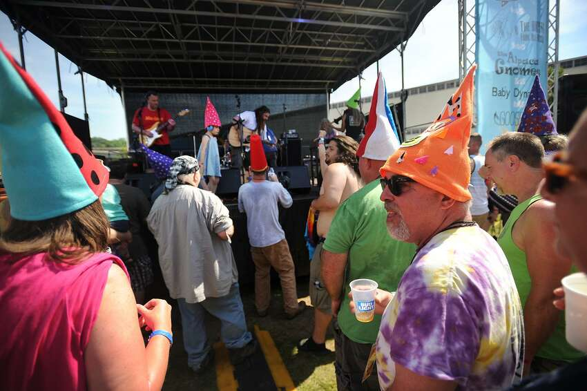 Fans of the band The Alpaca Gnomes, known for wearing pointy gnome hats to shows, check out the band during their afternoon set at the Soupstock Music & Arts Festival at Veteran's Park in Shelton, Conn. on Sunday, June 11, 2017.
