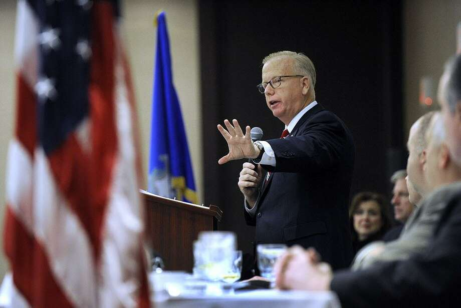 """Danbury Mayor Mark Boughton delivers his """"state of the city""""  address at the Chamber of Commerce Leadership Danbury Luncheon Friday, Dec. 16, 2016. Photo: Carol Kaliff / Hearst Connecticut Media / The News-Times"""