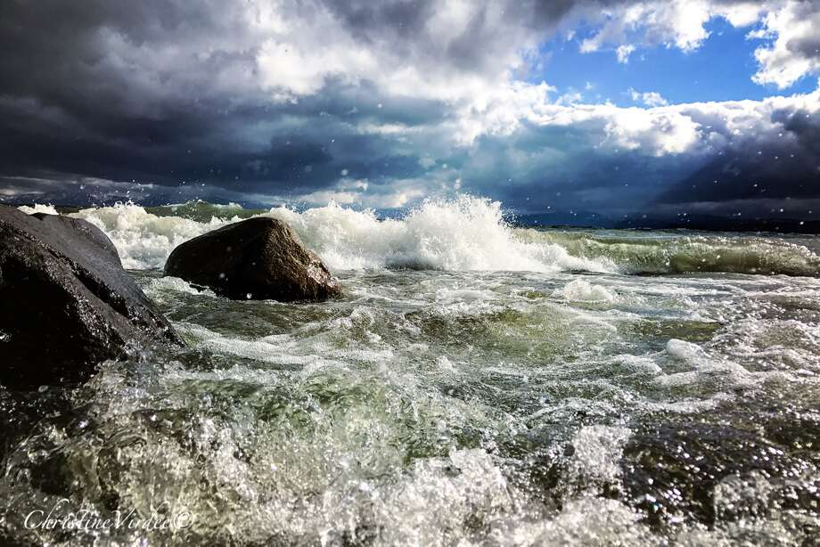 Big waves on Lake Tahoe photographed by Christi Virdee on June 10, 2017 Photo: Christi Virdee / @Christivtahoe