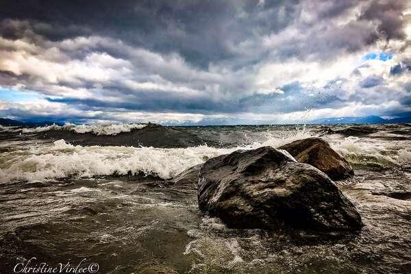 Big waves on Lake Tahoe photographed byChristi Virdeeon June 10, 2017