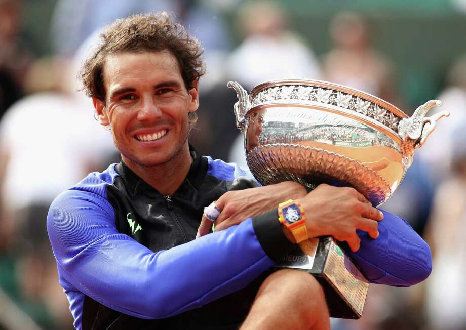 Rafael Nadal of Spain beat Stan Wawrinka of Switzerland on Sunday for a record 10th French Open title. Photo: Julian Finney, Staff / 2017 Getty Images