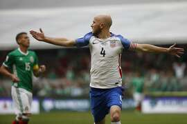 United States' Michael Bradley celebrates after scoring against Mexico during a World Cup soccer qualifying match at the Azteca Stadium in Mexico City, Sunday, June 11, 2017. (AP Photo/Eduardo Verdugo)