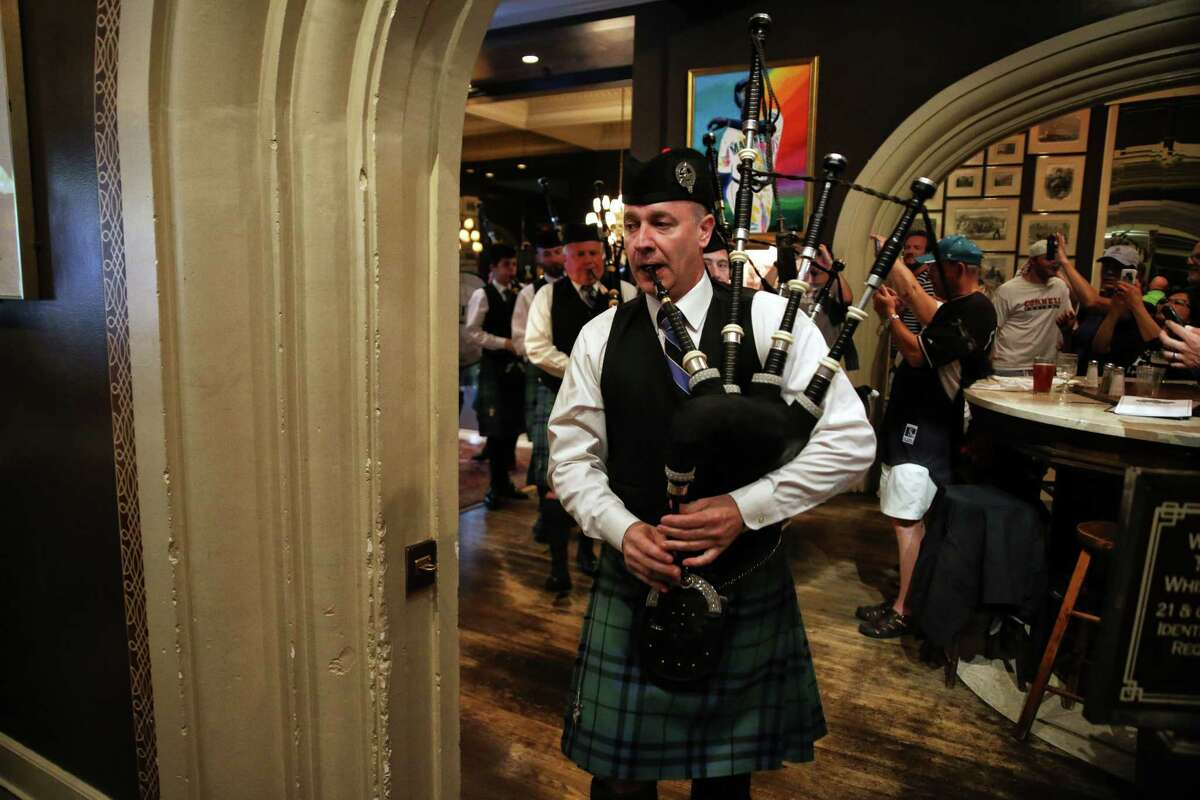 Keith Highlanders Pipe Band plays as F.X. McRory's hosts an