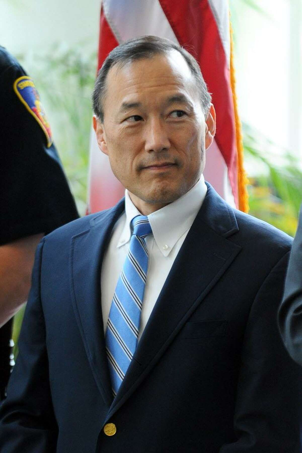 Stamford Superintendent of Schools Earl Kim during a ceremony inside Government Center in Stamford, Conn. on Tuesday, May 16, 2017.