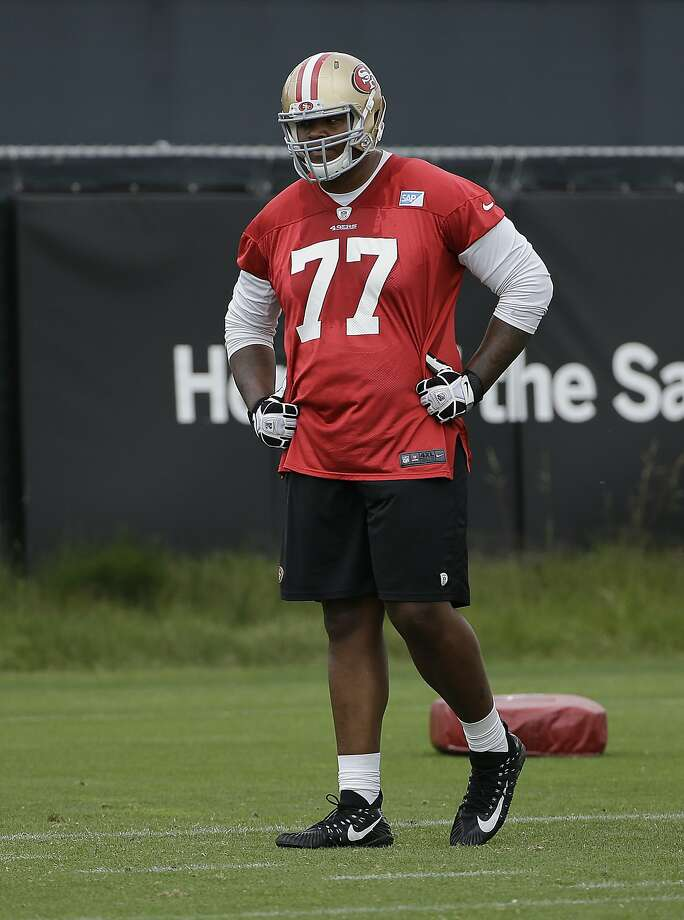 Trent Brown during an offseason practice Thursday. Photo: Jeff Chiu, Associated Press