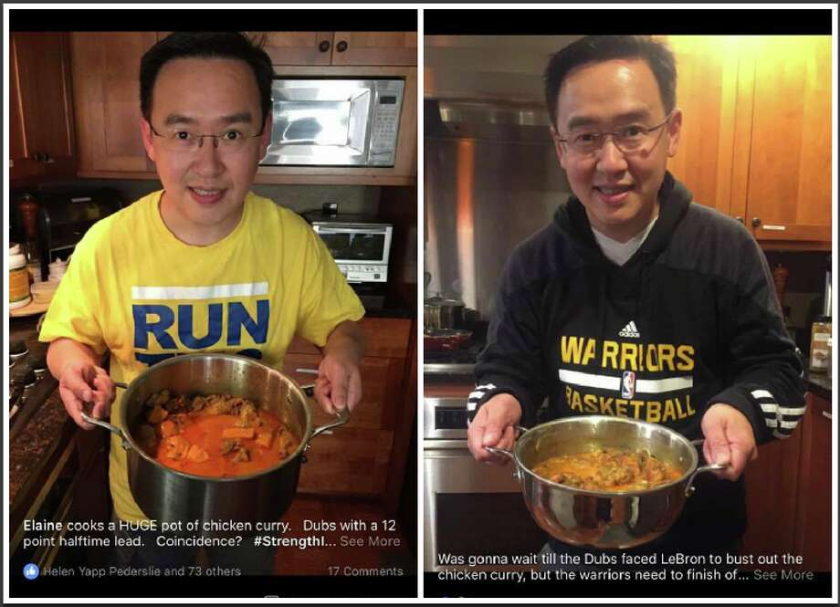 "One-time use: Warriors fan Sam Hsu shows off pots of curry his wife made on game nights. ""It became this thing with my friends,"" Hsu said, ""where they wanted my wife to make curry because every time she did, the Warriors won. And every time she didn't, they'd lose."" Photo: Sam Hsu"