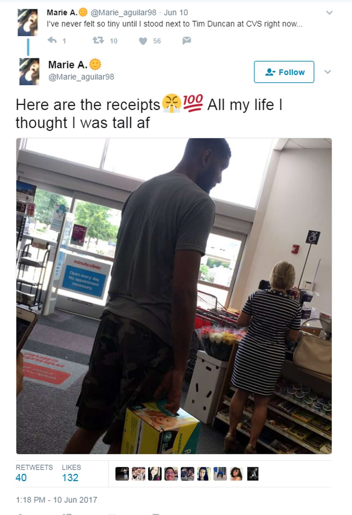 Screengrab of a tweet showing Tim Duncan at a CVS near the Dominion on June 10, 2017.