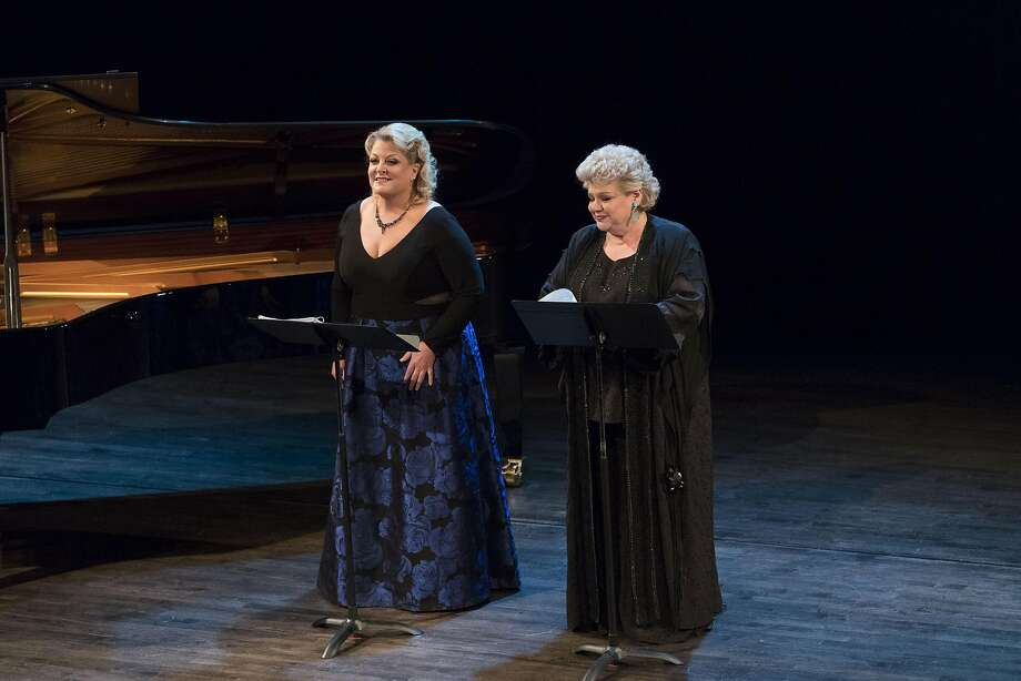 """Soprano Deborah Voigt (left) and mezzo-soprano Dolora Zajick open the Merola 60th anniversary gala concert with the Barcarolle from Offenbach's """"Tales of Hoffmann."""" Photo: Drew Altizer"""
