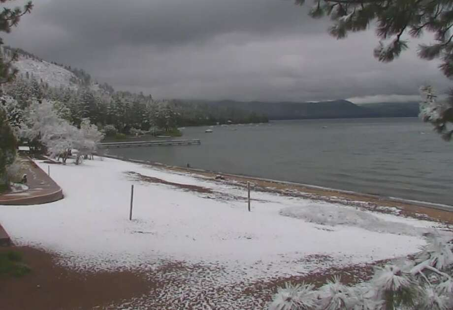 """In a somewhat rare event for June, snow was seen around lake Tahoe on the morning of June 17, 2017.""""Yes, this is real. Measurable snow at #laketahoe in June happens about every 5-10 years,"""" the National Weather Service office in Reno reported on Twitter. Photo: Courtesy National Weather Service/Reno Office"""