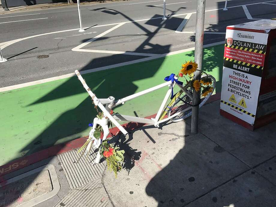 Someone stole a wheel off a bike memorial for a cyclist who died at 7th and Howard streets in San Francisco. Photo: Vivian Ho/SF Chronicle