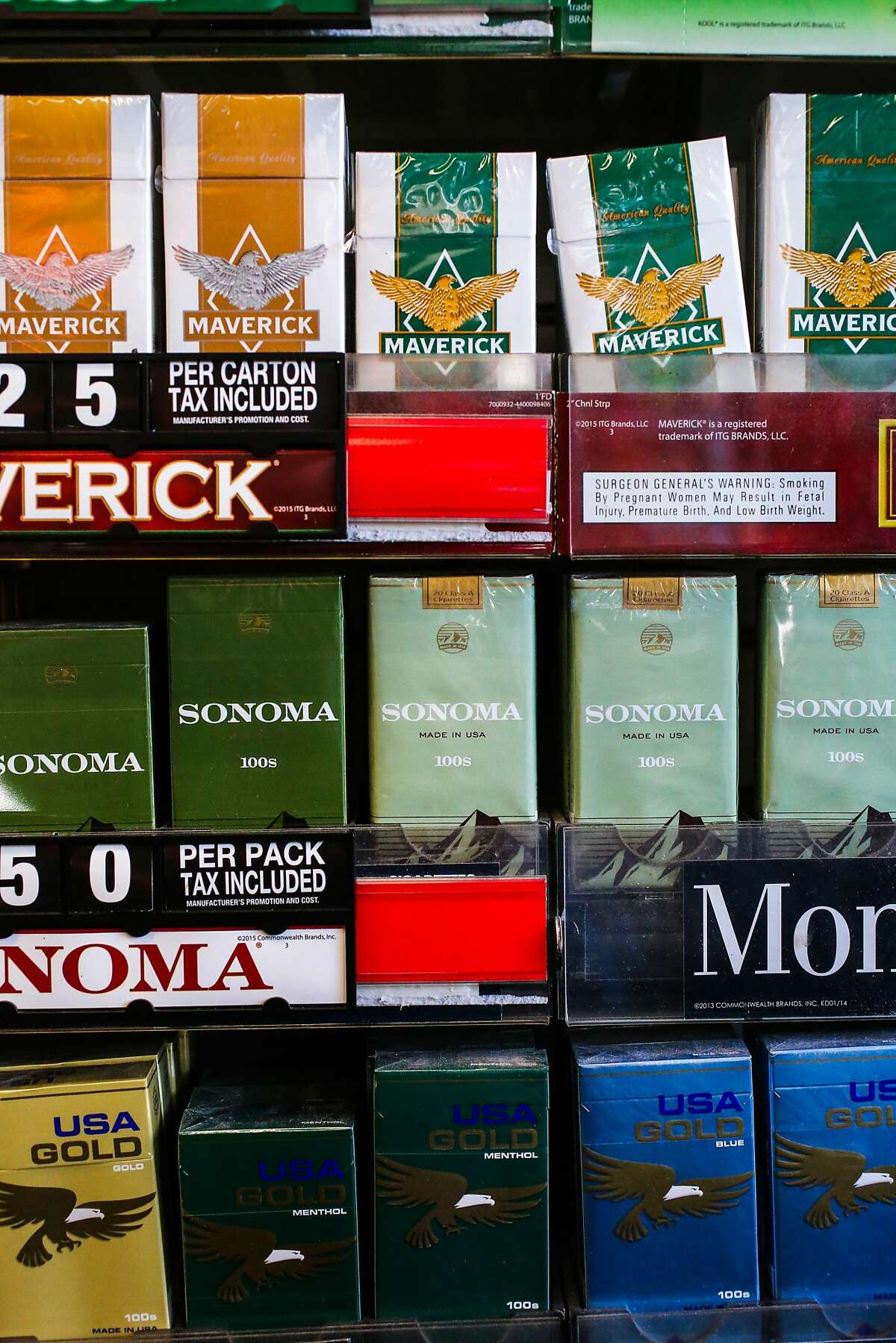 Tobacco and flavored tobacco is seen on the shelves at City Smoke and Vape Shop in San Francisco, California, on Sunday, June 11, 2017.