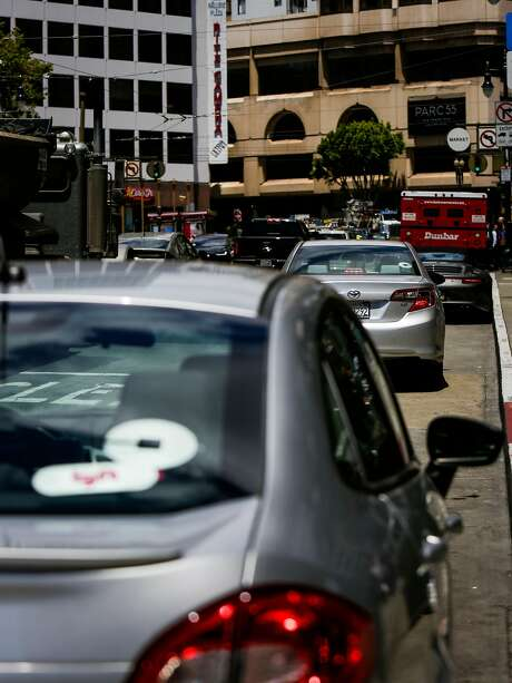Uber ride-share cars as seen in San Francisco on June 12, 2017. Photo: Nicole Boliaux, The Chronicle