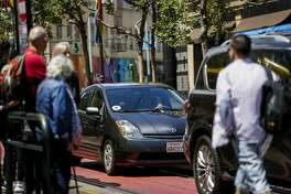 Uber cars as seen in San Francisco on June 12, 2017.