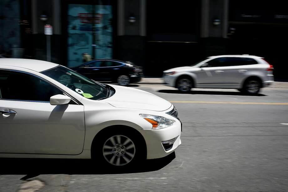 Uber cars as seen in San Francisco on June 12, 2017. Photo: Nicole Boliaux / The Chronicle 2017
