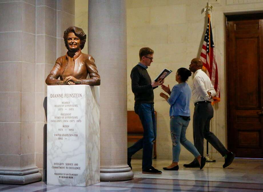 In a rare sighting of a female statue, City Hall has a sculpture of Dianne Feinstein, the only female mayor in S.F.'s history and now California's senior U.S. senator. Photo: Nicole Boliaux, The Chronicle