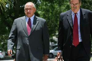 Jimmy Galindo, left, former Reeves County Judge enters the Federal Courthouse on Monday, June 12, 2017, with his lawyer David Botsford. Galindo pleaded guilty to taking bribes he's alleged to have split with state Sen. Carlos Uresti.